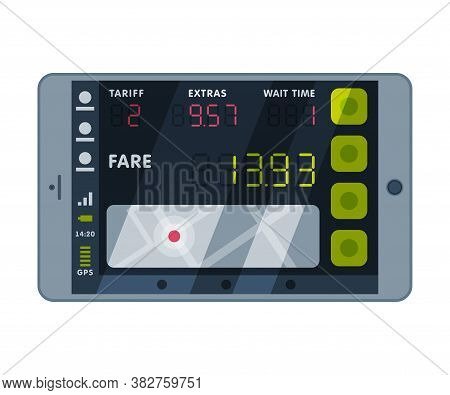 Modern Taximeter Device, Calculating Equipment For Taxi Service, Electronic Measurement Appliance Ve