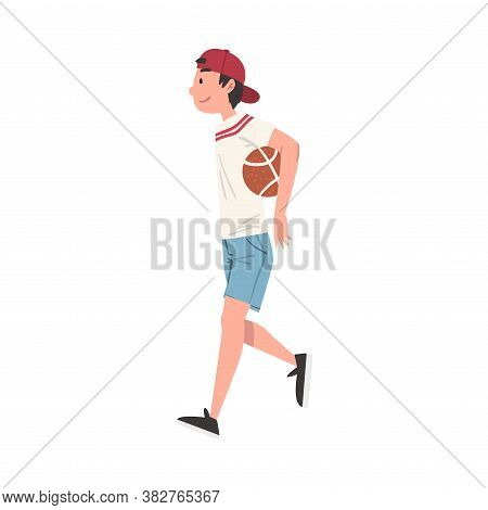 Smiling Teenage Boy Walking With Ball, Happy Schoolboy, Student, Classmate Or Friend Character Carto