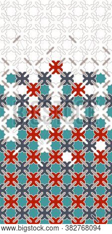 Arabic Vector Seamless Pattern. Geometric Halftone Texture, Pattern With Arabic Color Tile Disintegr