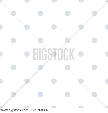 Seamless Small Blue Watercolor Polka Dot Pattern On White Background In Nordic Style. Elegant Print