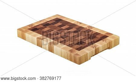 Solid Wood Butcher's Block. Chopping Board Isolated On White Background. Full Depth Of Field.