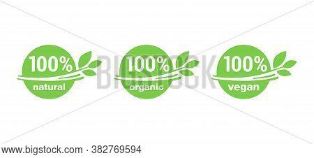 100 Natural, 100 Organic, 100 Vegan Icons Or Badges Set - Tag For Hundred Percent Healthy Food, Vege