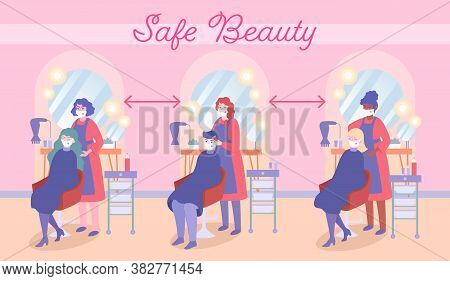 Safe Beauty. Social Distance In Beauty Salons. Maintain Service During Coronavirus Pandemic. Covid-1