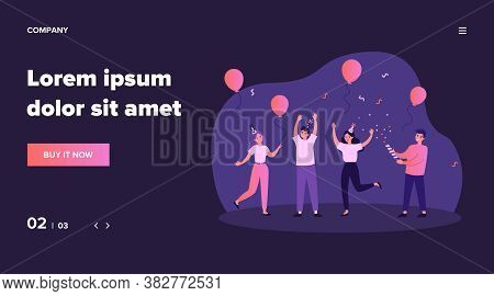 Cheerful Friends Having Fun At Birthday Party. Happy People Dancing With Air Balloons And Confetti.