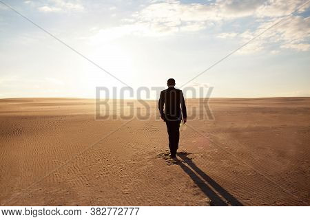 A Man In A Suit Walks Through The Desert, Loneliness, Pursuit Of His Goal, The Hot Sun, A Man Lost I
