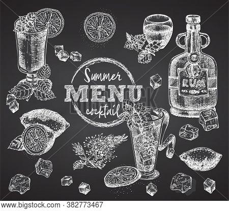 Set Bottles Rum, Glasses, Bourbon, Mint, Lime, Limon, Ice On Black Chalk Board Background Vintage Ha