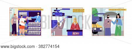 News Set Of Flat Compositions With News Stall Images Reporter And Newscaster Characters With Editabl