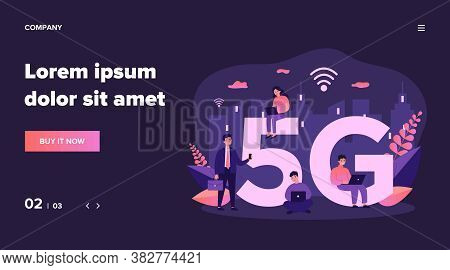 Devices Users Enjoying 5g City Internet. People Using Smartphones And Laptops. Can Be Used For Commu