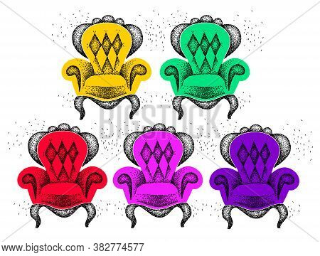 Set Of Multi-colored Antiquarian Armchairs. Collection Of Color Chairs On A White Background. Vintag