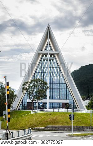 Tromso, Finland - July 27, 2016: Front View Of The Arctic Cathedral In Tromso Norway