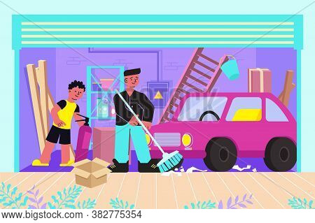 Cleaning Messy Garage Of Junk Flat Composition With Father Son Sweeping Floor Removing Clutter Vecto