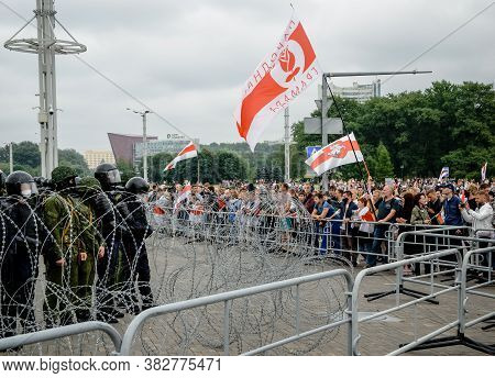 Minsk, Belarus - August 23, 2020: Belarusian People Participate In Peaceful Protest Against Special