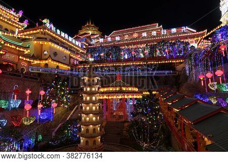 Penang, Malaysia, January 26, 2020: One Of The Courtyards Of Kek Lok Si Temple With Special Lighting