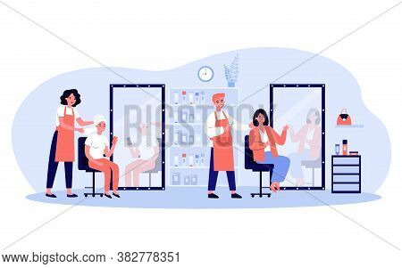 Young People Sitting In Beauty Salon Isolated Flat Vector Illustration. Cartoon Happy Beauticians, S