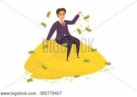 Money, Success, Profit, Wealth, Business Concept. Young Happy Smiling Rich Businessman Clerk Manager