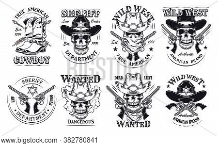 Vintage Wild West Flat Sign Set. Monochrome Saloon Or Rodeo Emblems And Labels With Cowboy Skulls, G