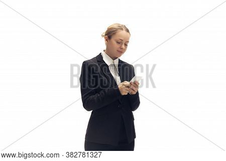 Scrolling Phone. Young Woman, Accountant, Finance Analyst Or Booker In Office Suit Isolated On White