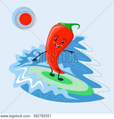 Cheerful Red Chili Pepper Cartoon Rolls On The Sea Waves On A Surfboard. Bright Vegetable Hot Pepper
