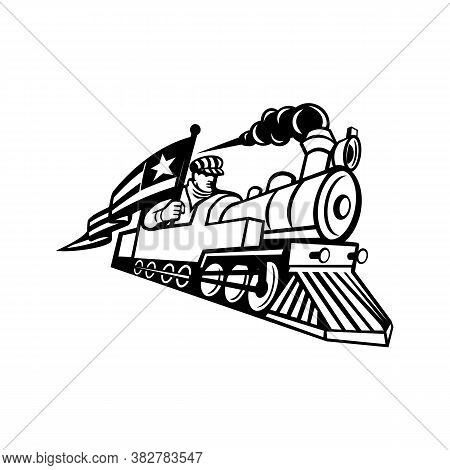 Black And White Mascot Illustration Of A Vintage Steam Locomotive Or Train With A Train Driver, Engi
