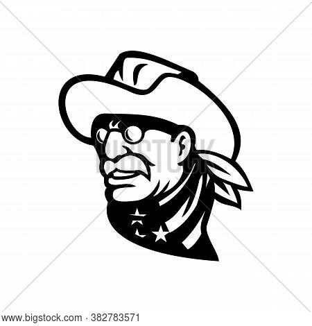 Black And White Mascot Illustration Of Head Of An American Statesman, Writer And 26th President Of T