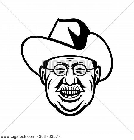 Black And White Mascot Illustration Of Head Of Theodore Roosevelt, American President And Commander