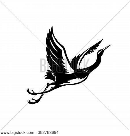 Retro Style Illustration Of A White-faced Heron Egretta Novaehollandiae, The White-fronted Heron, Gr
