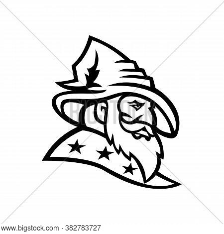 Black And White Mascot Illustration Of Head Of A Wizard, Warlock, Magician Or Sorcerer With Three St