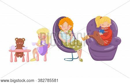 Woman Nestling In Armchair And Drinking Hot Tea And Kid Sitting On Chair And Playing Toy Bear Vector