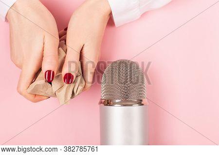Woman Hands With Crumpled Paper. Making Autonomous Sensory Meridian Response Asmr Sounds.
