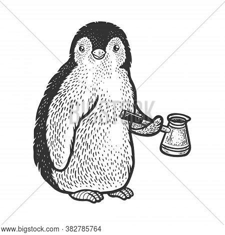 Penguin Bird With Coffee Pot Cezve Sketch Engraving Vector Illustration. T-shirt Apparel Print Desig