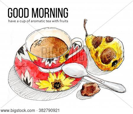 Cup Of Aromatic Cold Tea With Pear And Date Fruit. Good Morning Banner. Summer Still Life With Cup O