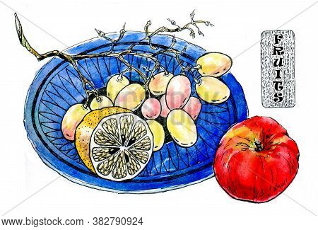 Ripe Fruit. Apple, Grapes, Lemon On Blue Plate. Light Snack With Fruit. Watercolor Illustration For