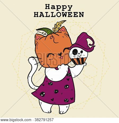 Cute Doodle Happy White Cat With Craved Pumpkin Head, Trick Or Treat, Halloween Costume, Autumn Oran