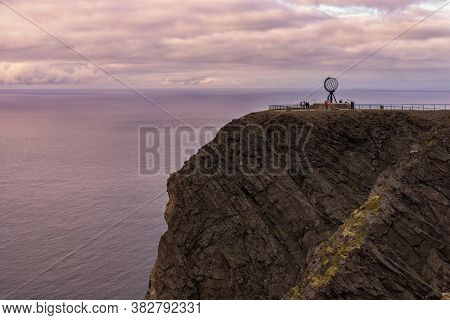 North Cape (nordkapp) Is A Cape On The Northern Coast Of The Island Of Mageroya In Norway. The Europ