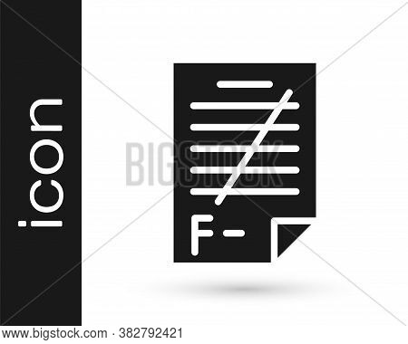Grey Exam Paper With Incorrect Answers Survey Icon Isolated On White Background. Bad Mark Of Test Re