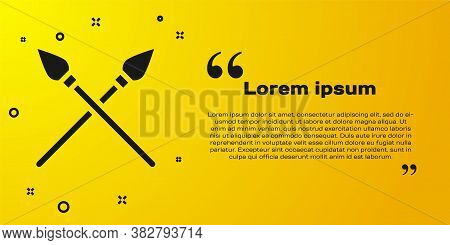 Black Crossed Medieval Spears Icon Isolated On Yellow Background. Medieval Weapon. Vector