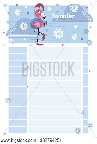 To Do List. Little Flamingo Santa Claus. Cartoon Character With Gifts On A Winter Background. Templa