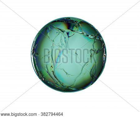 Glassy Greenish Sphere With Cracks And Dispersion Effect On A White Background. 3d Rendering