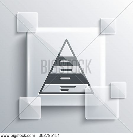 Grey Business Pyramid Chart Infographics Icon Isolated On Grey Background. Pyramidal Stages Graph El