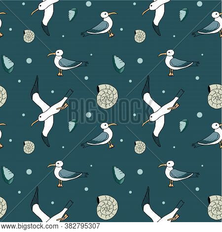Abstract Sea Background, Beach Theme Fashion Seamless Pattern, Monochrome Exotic Vector Wallpaper, V