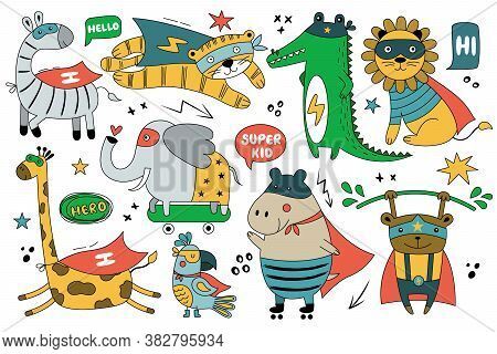 Funny Superhero. Set Of Wild Animals In Funny Comics Costume. Cute Vector Illustration With Parrot,