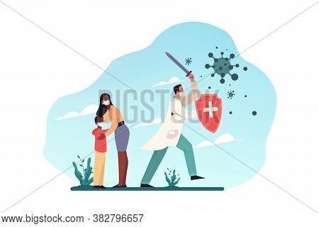 Healthcare, Quarantine, Covid19, Infection, Desease, Coronavirus, Protection Concept. Man Doctor Wit