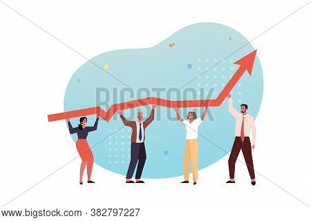 Profit Growth, Team, Collaboration, Partnership Coworking Business Concept. Dinamic Raising Profit,