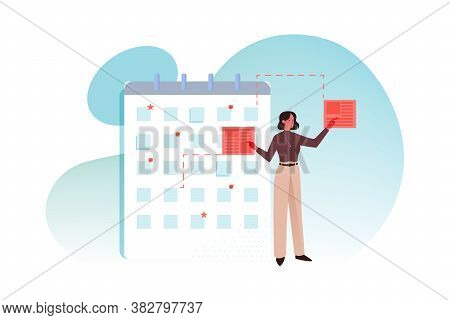 Multistasking, Time Schedule, Management, Big Data Business Concept. Young Businesswoman Clerk Or Ma