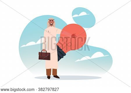 Business Idea, Success, Problem Solution Concept. Young Happy Arab Businessman Muslim Character Stan