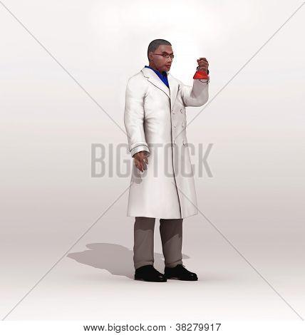 Scientist observing an Erlenmeyer flask