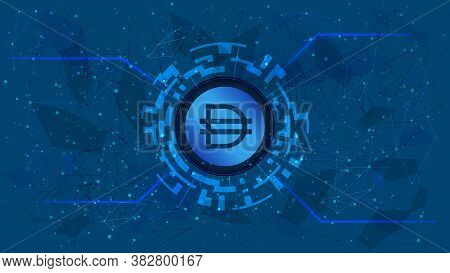 Dai Token Symbol Of The Defi Project In A Digital Circle With A Cryptocurrency Theme On A Blue Backg
