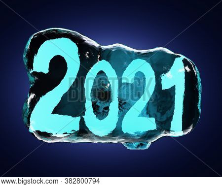 The Numbers Two Thousand Twenty One Are Frozen In Ice On A Dark Background With Backlight. New Year