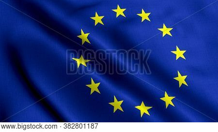 Eu Satin Flag. Waving Fabric Texture Of The Flag Of Eu, Real Texture Flag. Realistic Flag. Waving Fl