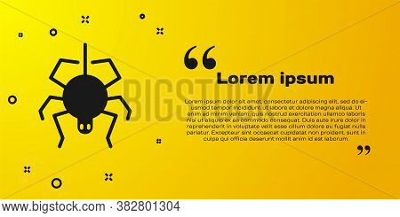 Black Spider Icon Isolated On Yellow Background. Happy Halloween Party. Vector